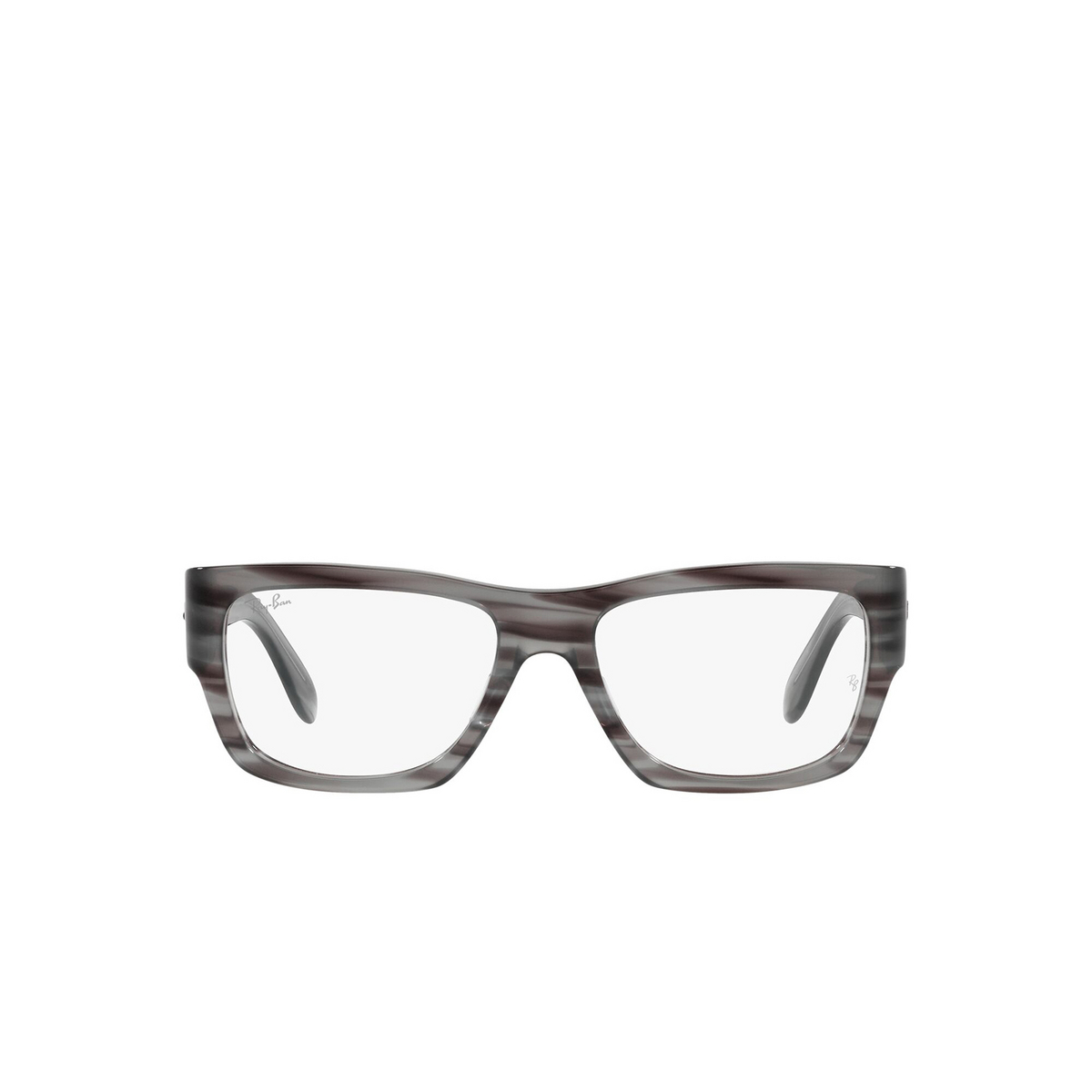 Ray-Ban® Square Eyeglasses: Nomad Wayfarer RX5487 color Striped Grey 8055 - front view.