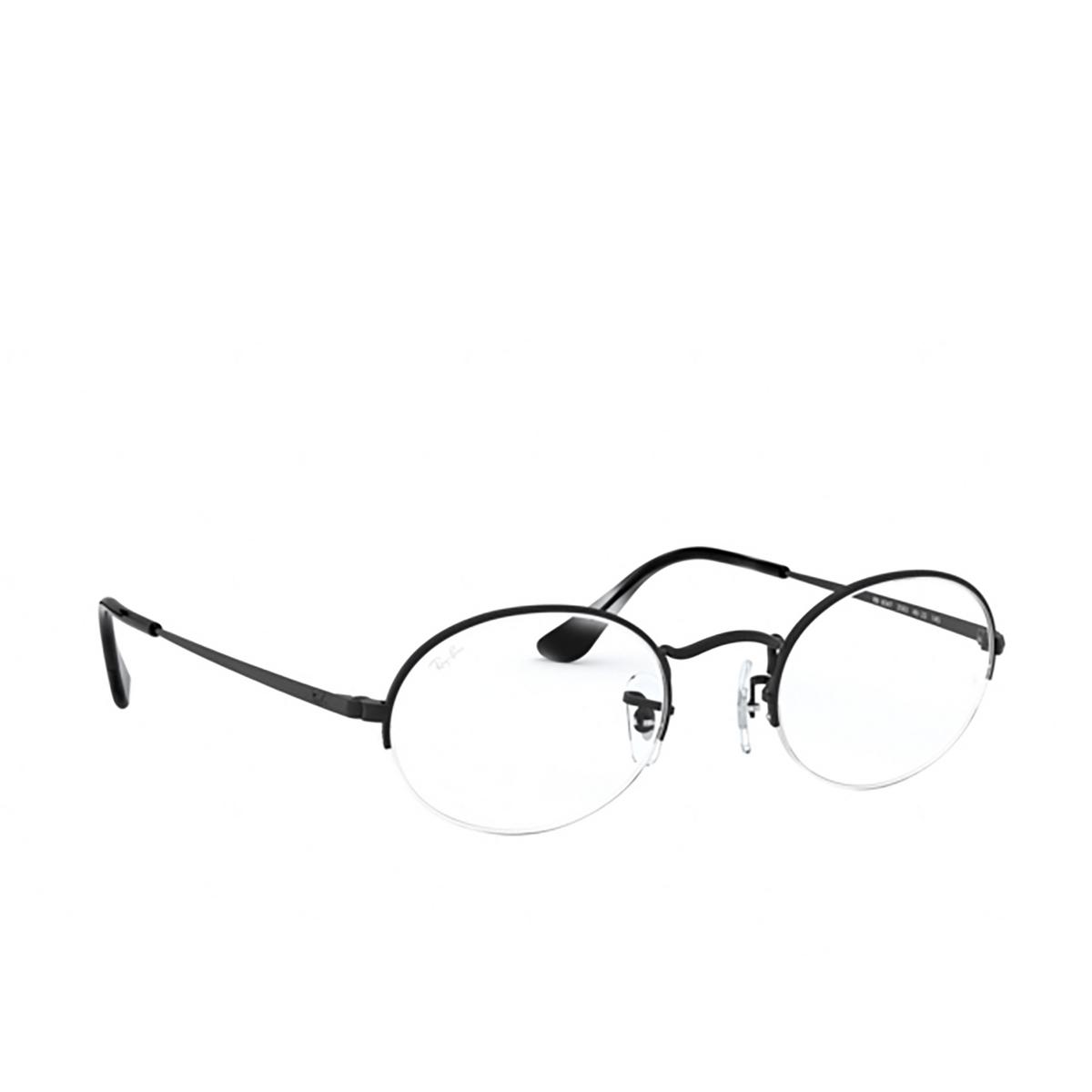 Ray-Ban® Oval Eyeglasses: Oval Gaze RX6547 color Matte Black 2503 - three-quarters view.