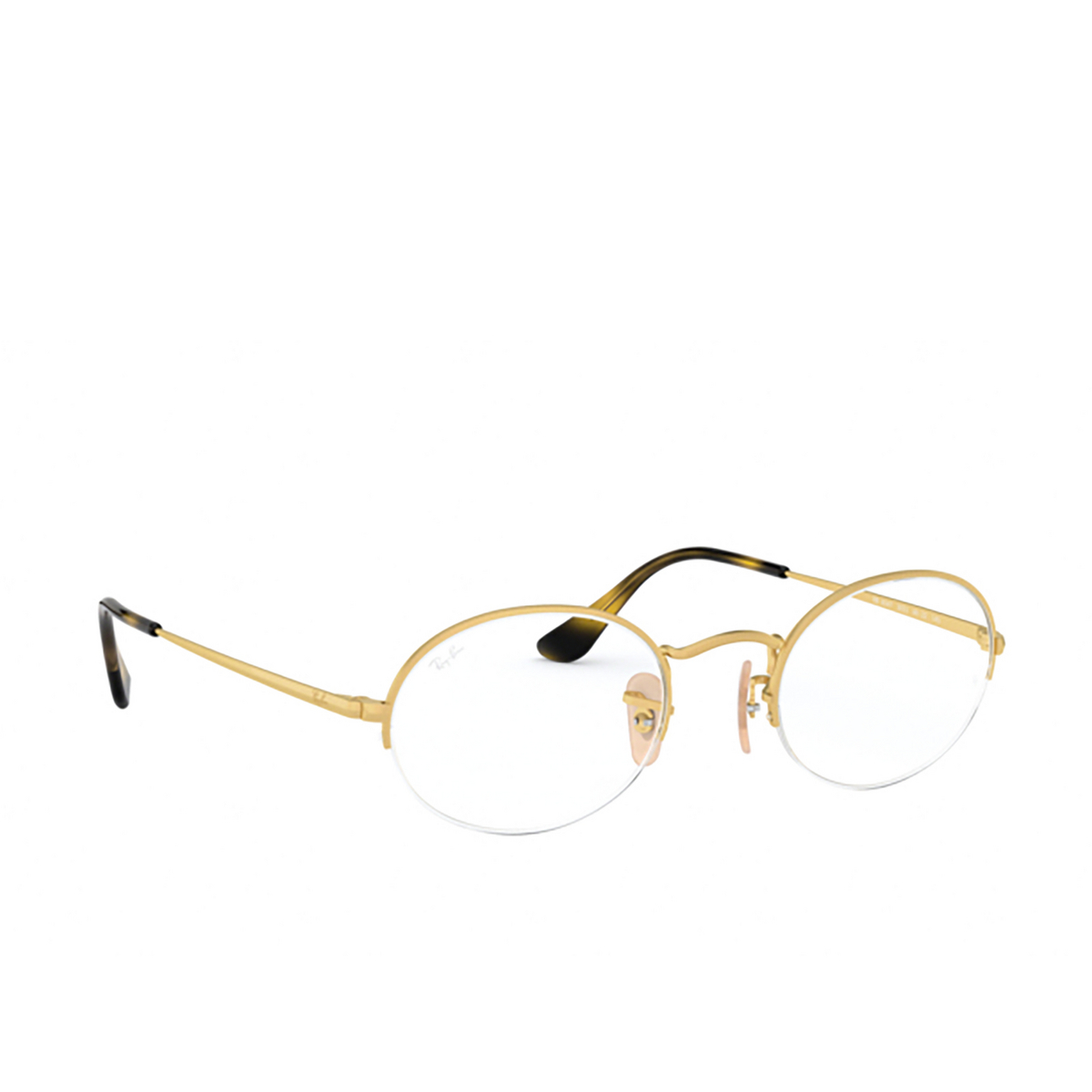Ray-Ban® Oval Eyeglasses: Oval Gaze RX6547 color Matte Gold 3033 - three-quarters view.