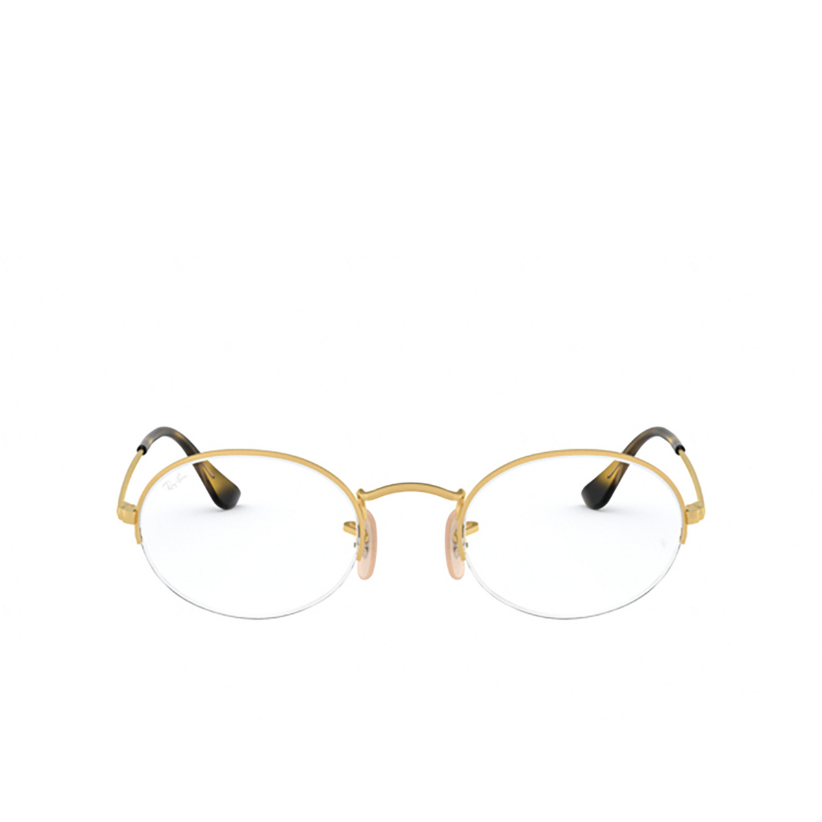 Ray-Ban® Oval Eyeglasses: Oval Gaze RX6547 color Matte Gold 3033 - front view.