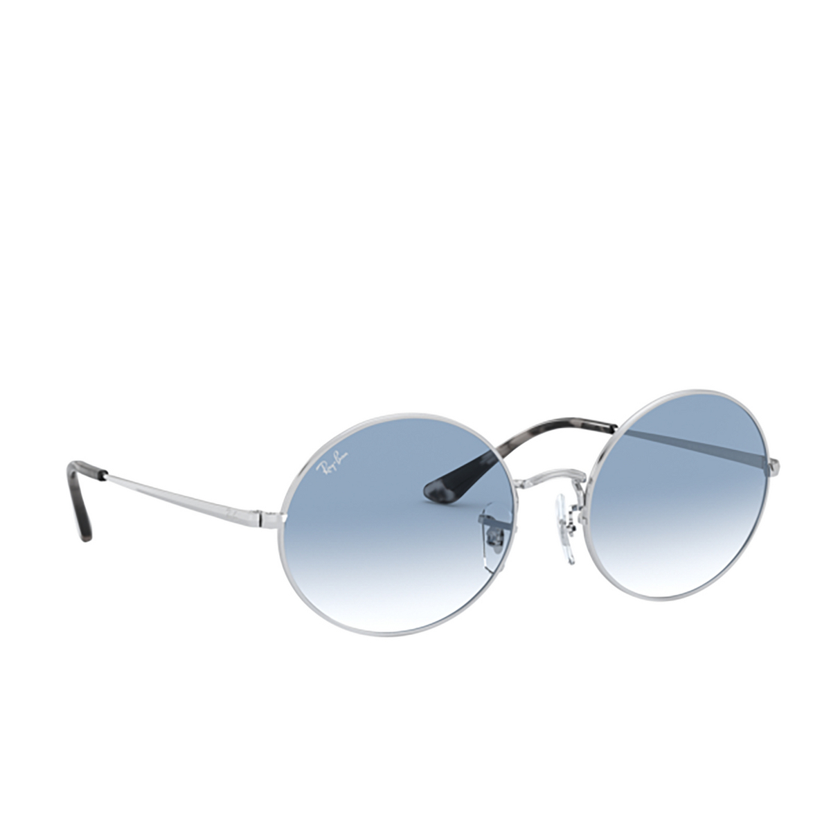 Ray-Ban® Oval Sunglasses: Oval RB1970 color Silver 91493F - three-quarters view.
