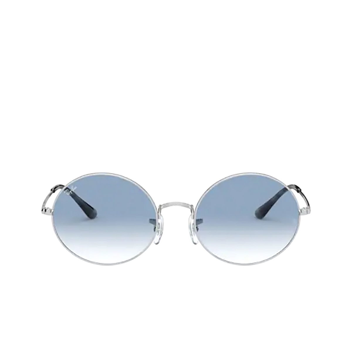 Ray-Ban® Oval Sunglasses: Oval RB1970 color Silver 91493F - front view.