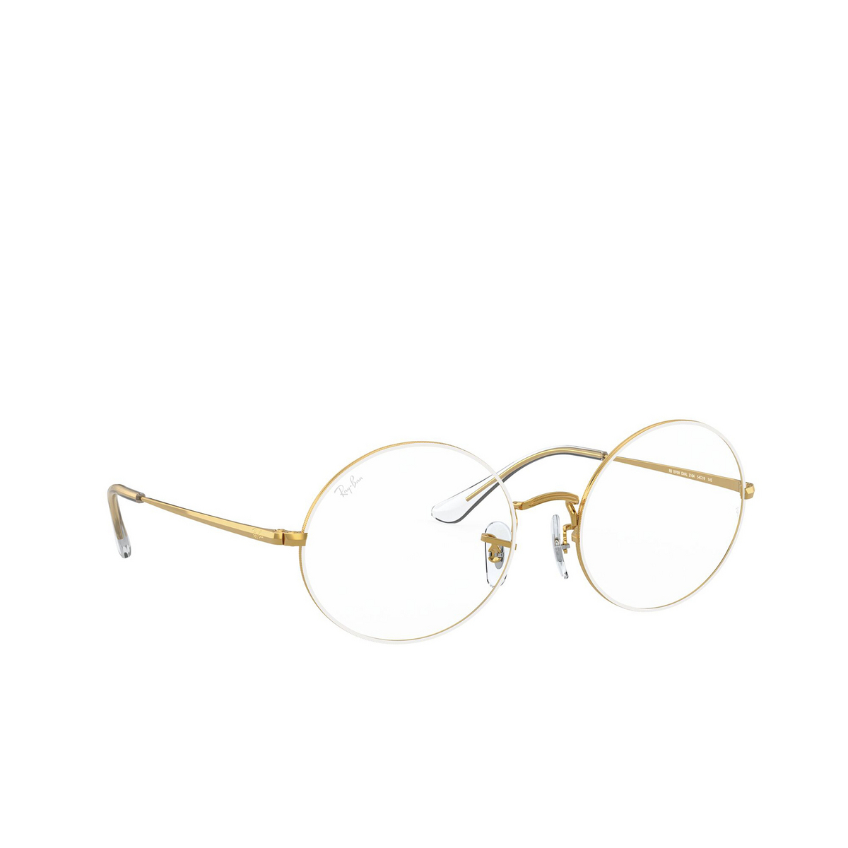 Ray-Ban® Oval Eyeglasses: Oval RX1970V color White On Legend Gold 3104 - three-quarters view.