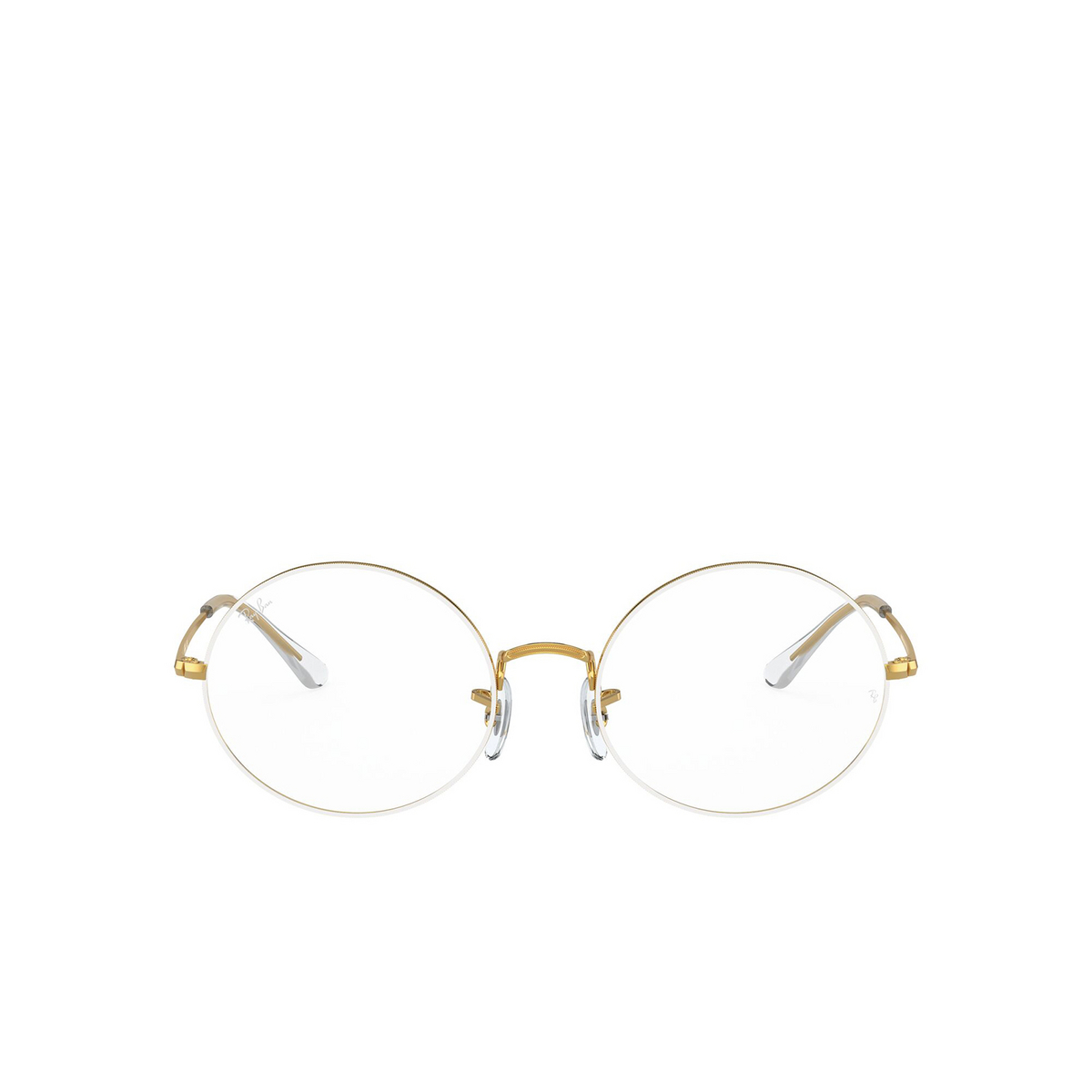 Ray-Ban® Oval Eyeglasses: Oval RX1970V color White On Legend Gold 3104 - front view.