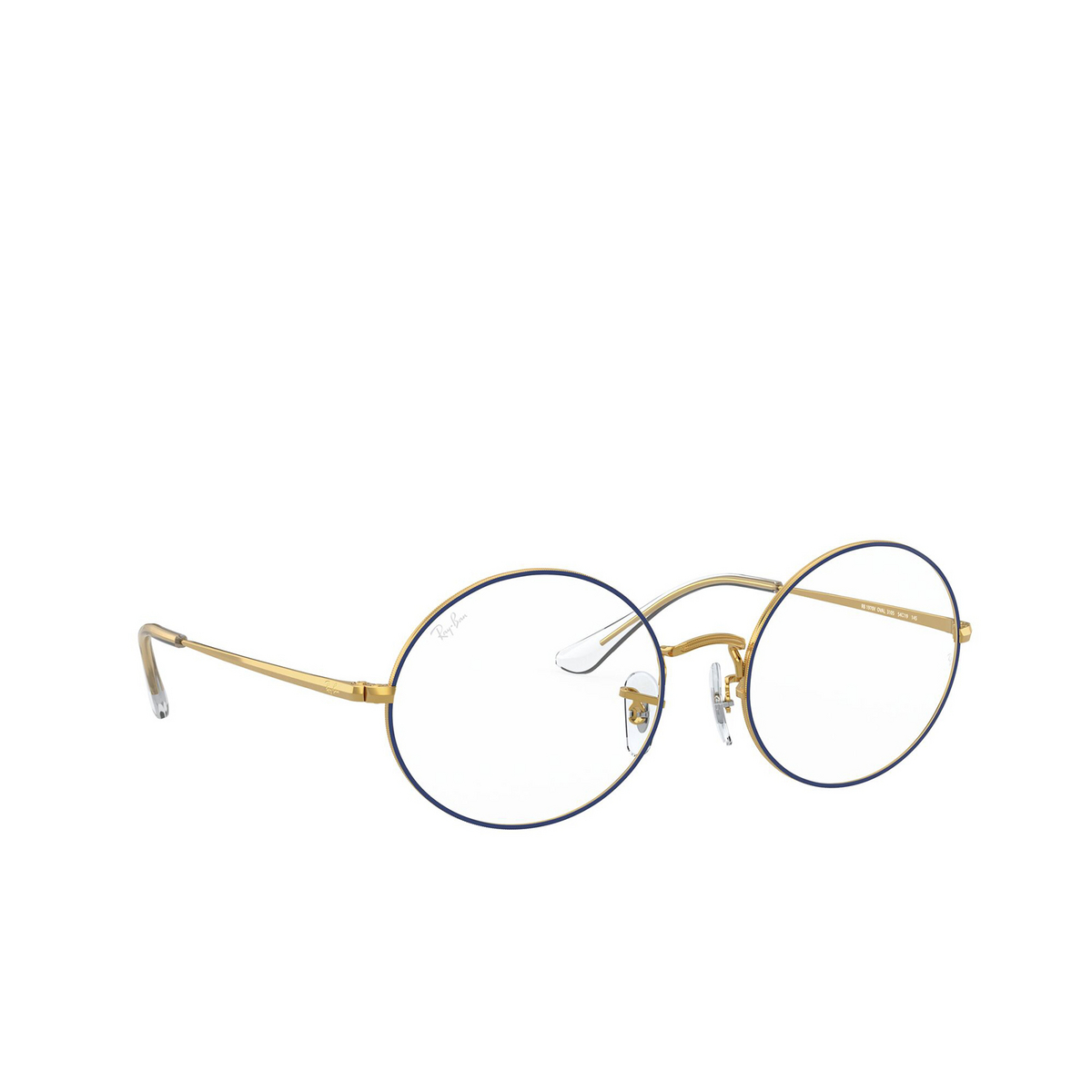 Ray-Ban® Oval Eyeglasses: Oval RX1970V color Blue On Legend Gold 3105 - three-quarters view.