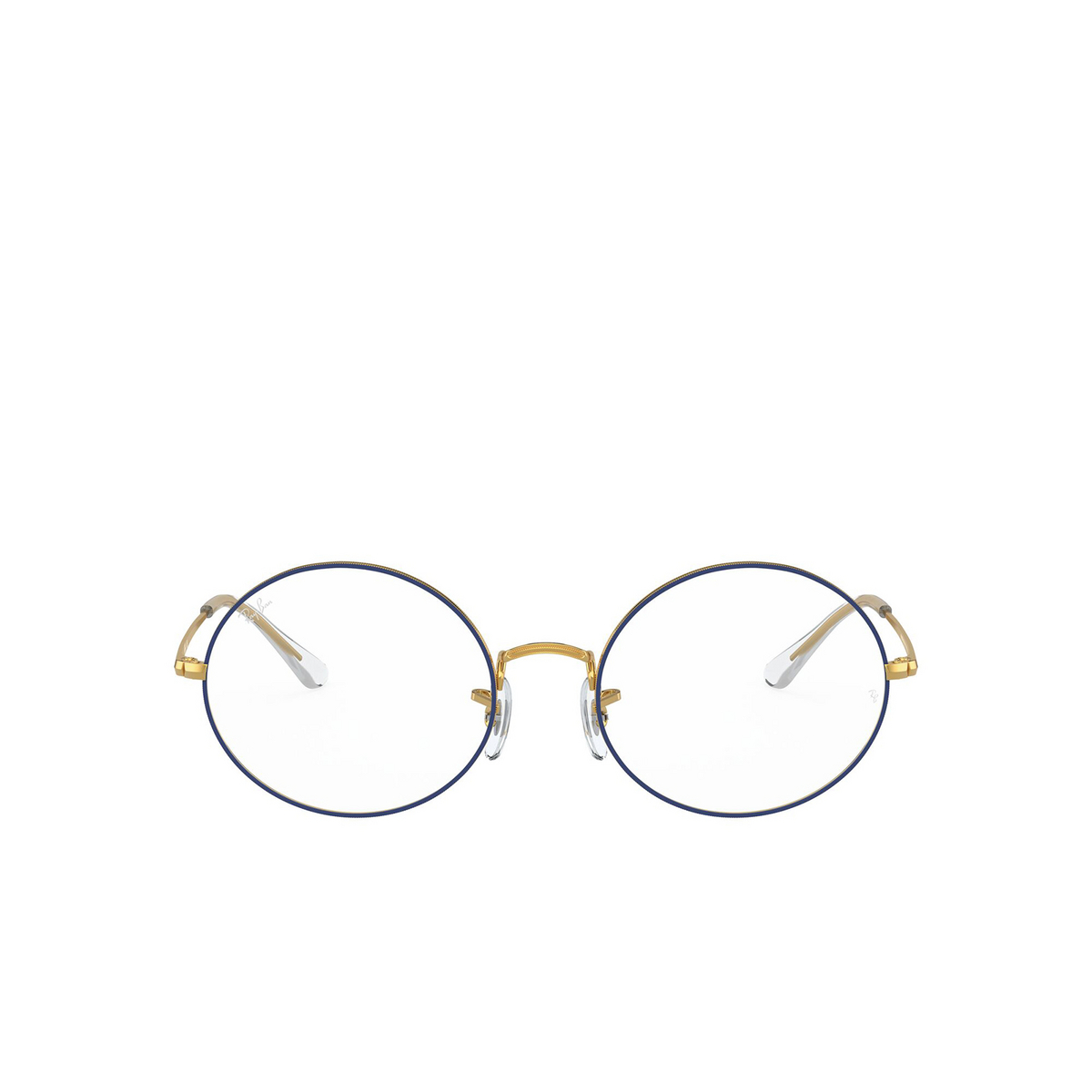Ray-Ban® Oval Eyeglasses: Oval RX1970V color Blue On Legend Gold 3105 - front view.