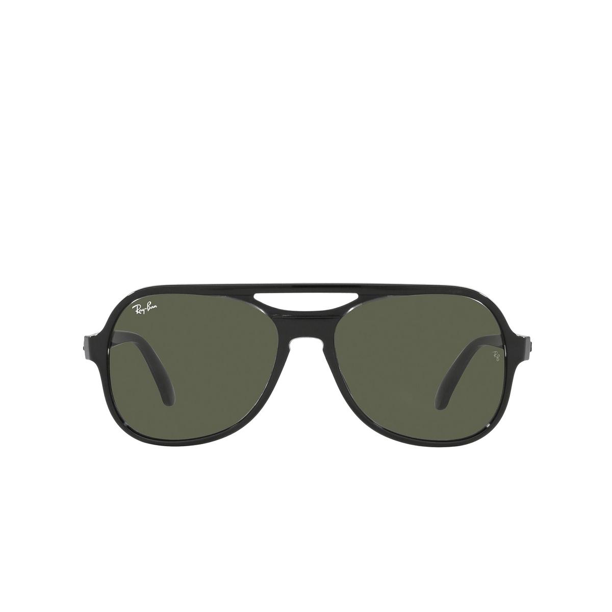Ray-Ban® Aviator Sunglasses: Powderhorn RB4357 color Black Transparent Black 654531 - front view.