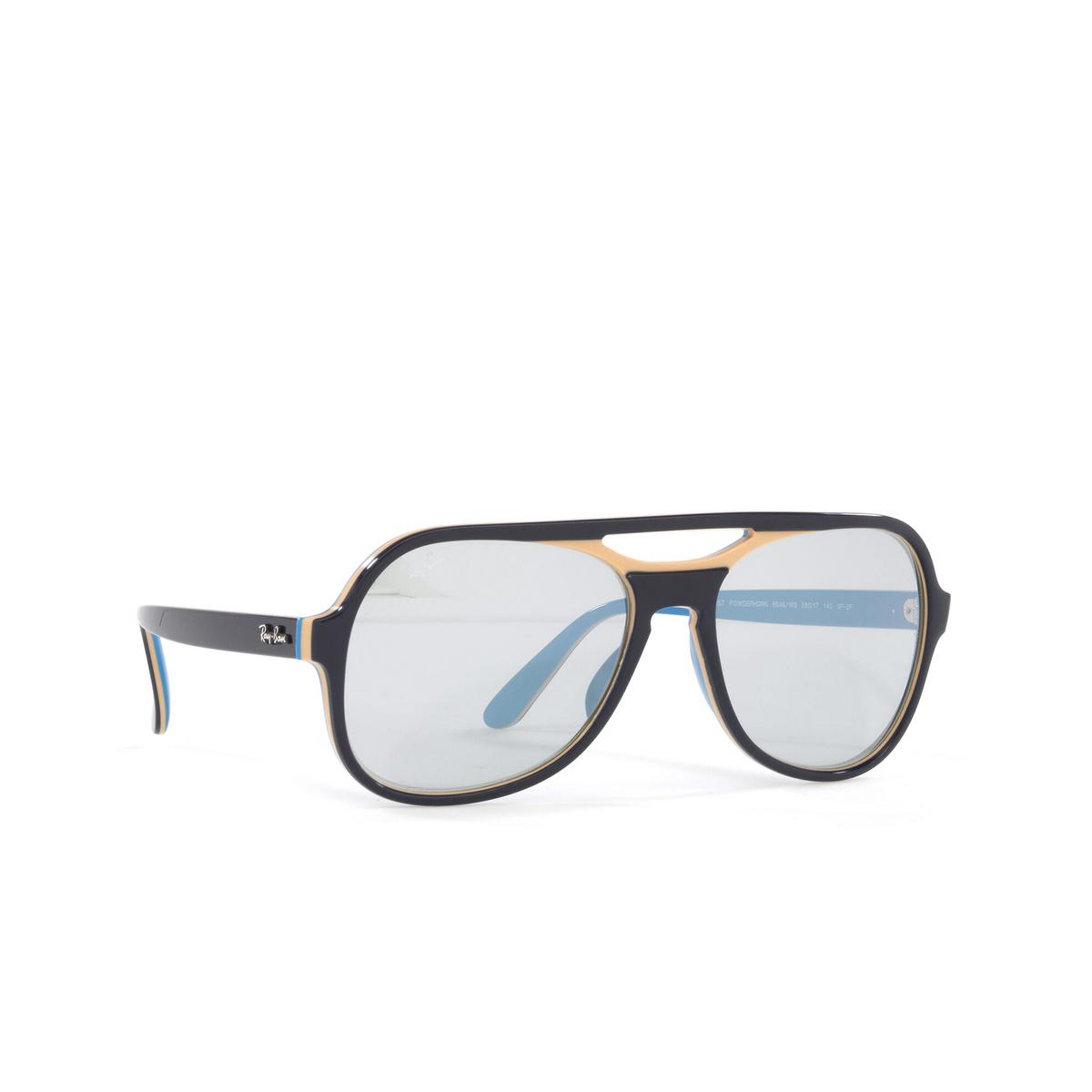 Ray-Ban® Aviator Sunglasses: Powderhorn RB4357 color Blue Creamy Light Blue 6546W3 - three-quarters view.