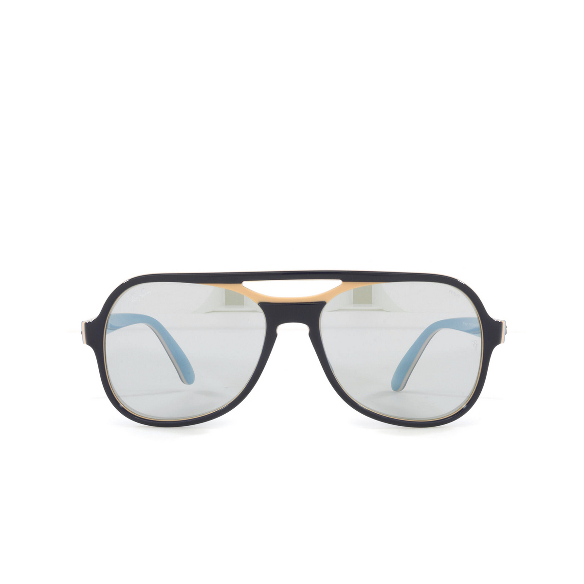 Ray-Ban® Aviator Sunglasses: Powderhorn RB4357 color Blue Creamy Light Blue 6546W3 - front view.