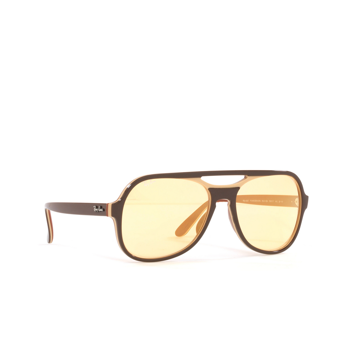 Ray-Ban® Aviator Sunglasses: Powderhorn RB4357 color Dark Brown Light Brown 6547B4 - three-quarters view.