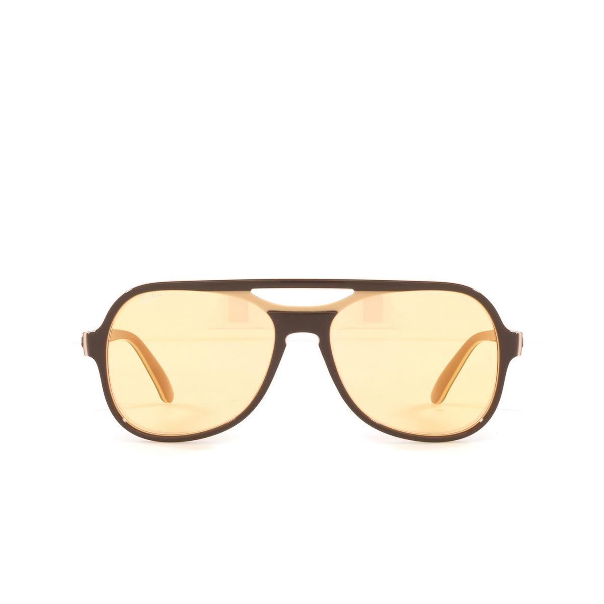 Ray-Ban® Aviator Sunglasses: Powderhorn RB4357 color Dark Brown Light Brown 6547B4 - front view.
