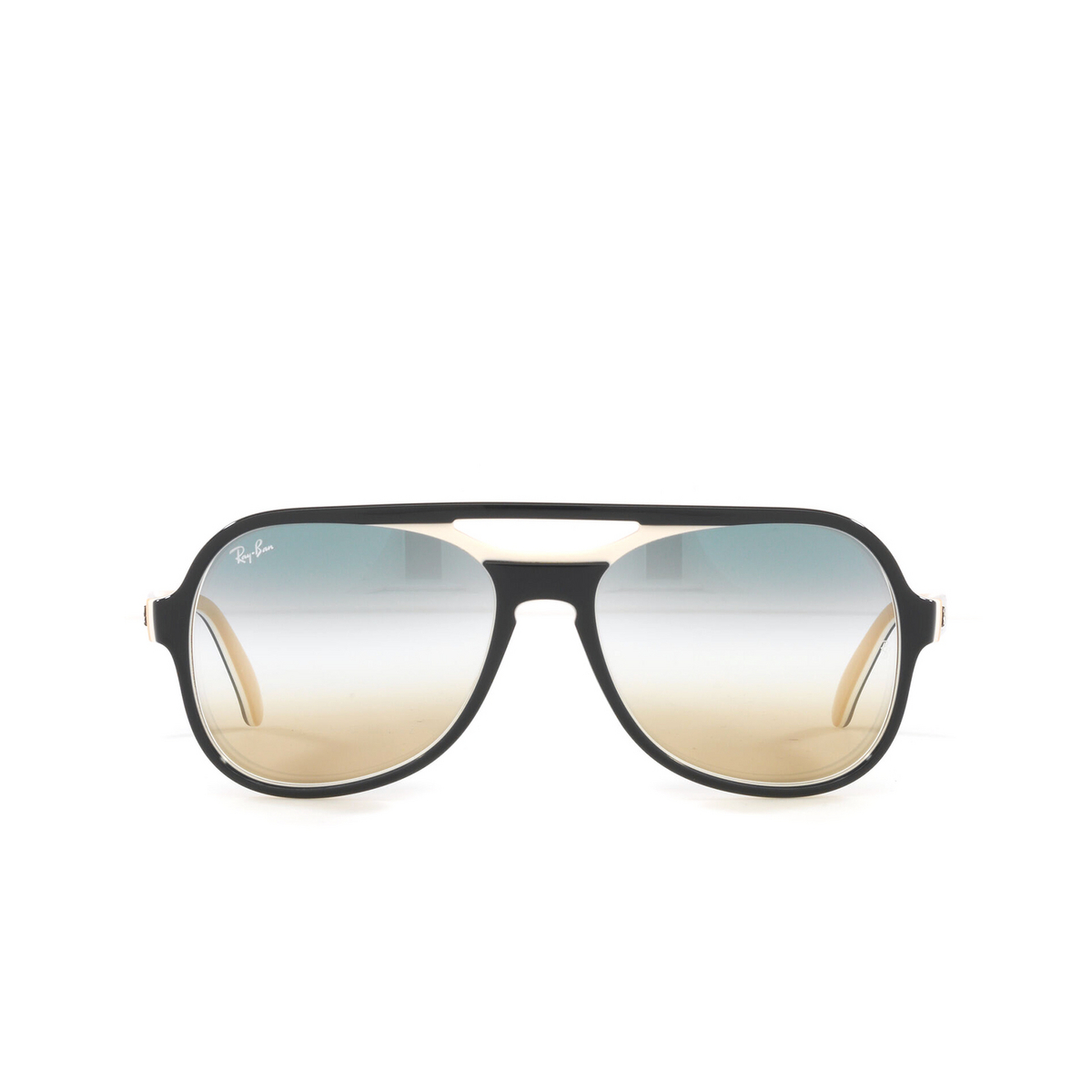 Ray-Ban® Aviator Sunglasses: Powderhorn RB4357 color Blue Creamy Light Brown 6548GD - front view.