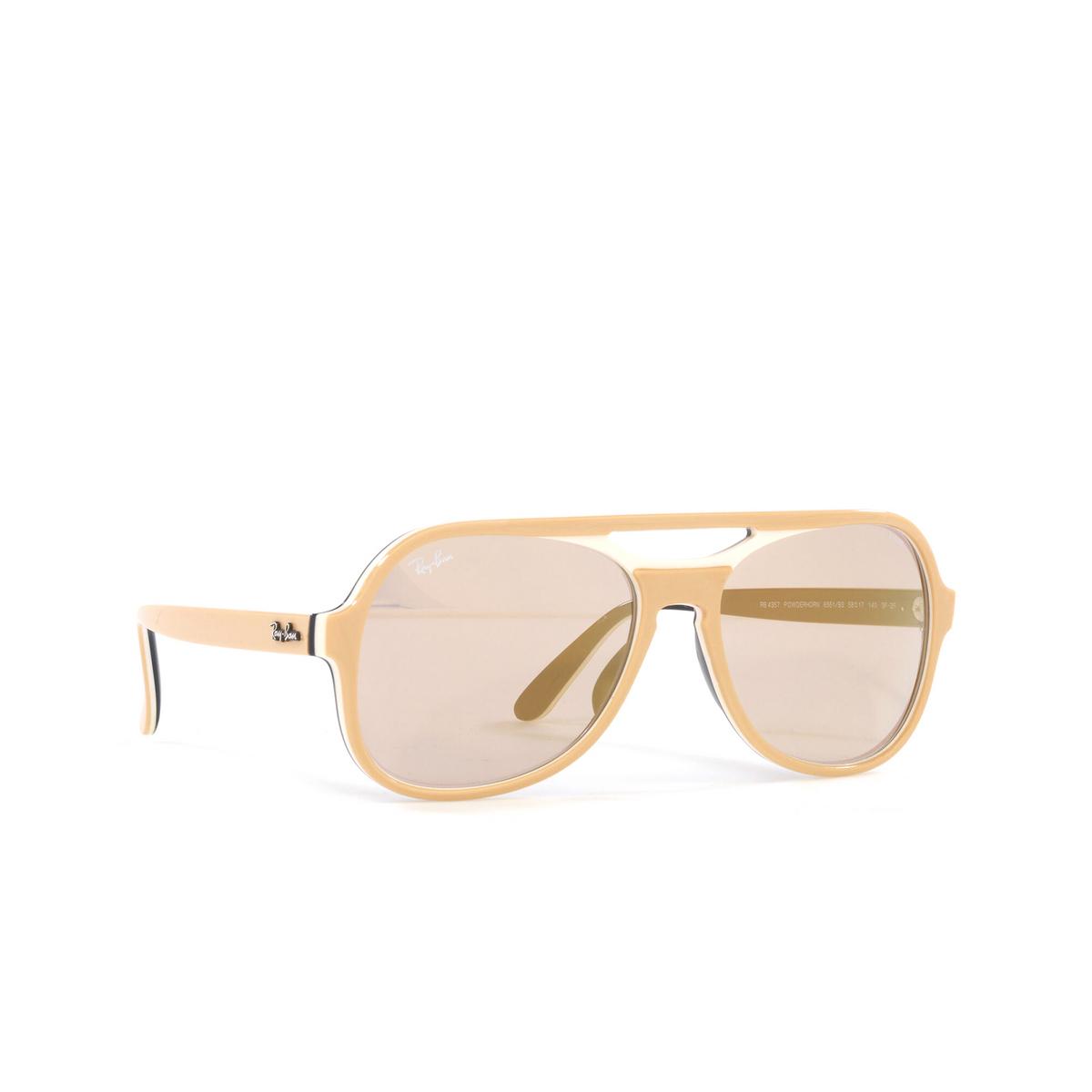 Ray-Ban® Aviator Sunglasses: Powderhorn RB4357 color Light Brown Creamy Blue 6551B3 - three-quarters view.
