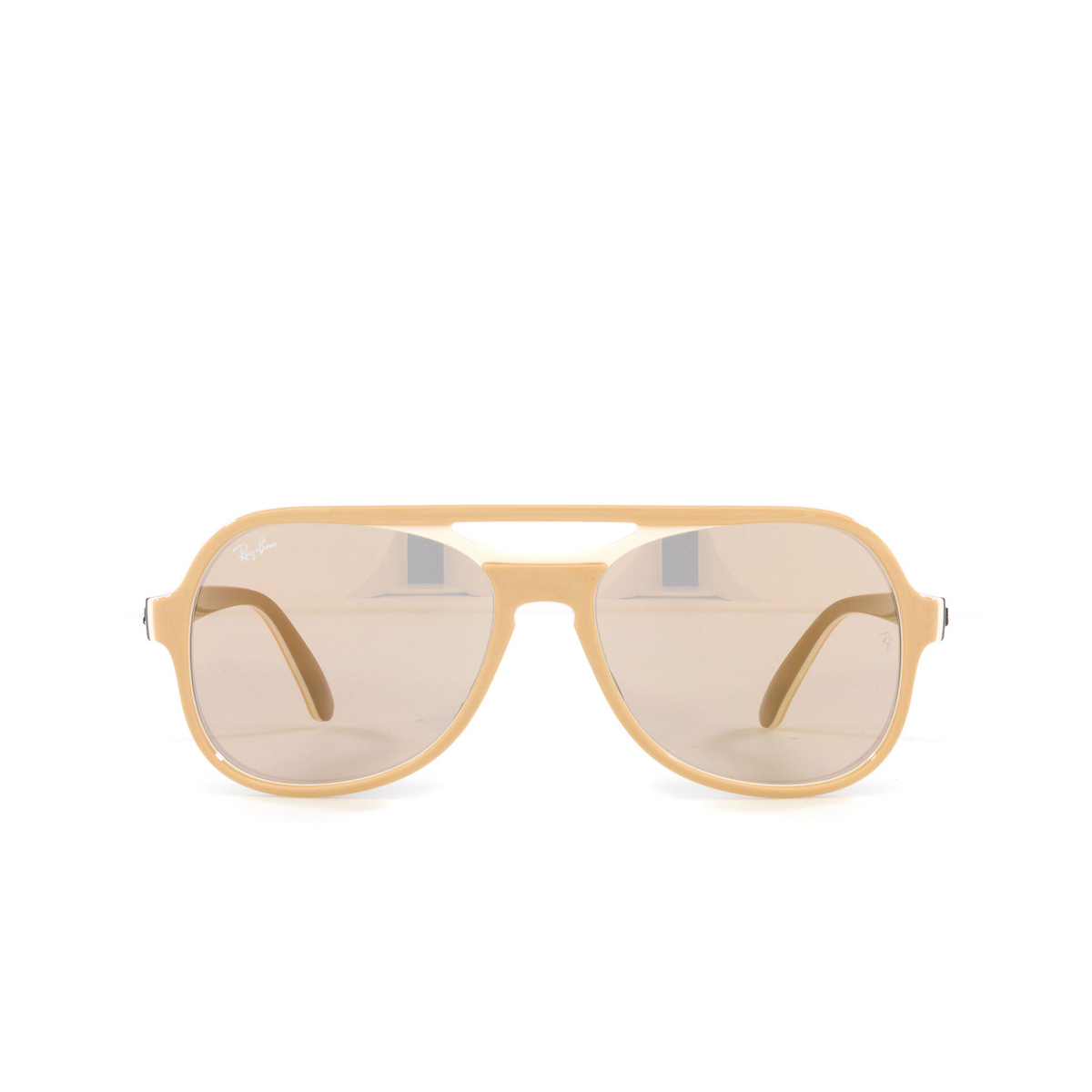 Ray-Ban® Aviator Sunglasses: Powderhorn RB4357 color Light Brown Creamy Blue 6551B3 - front view.