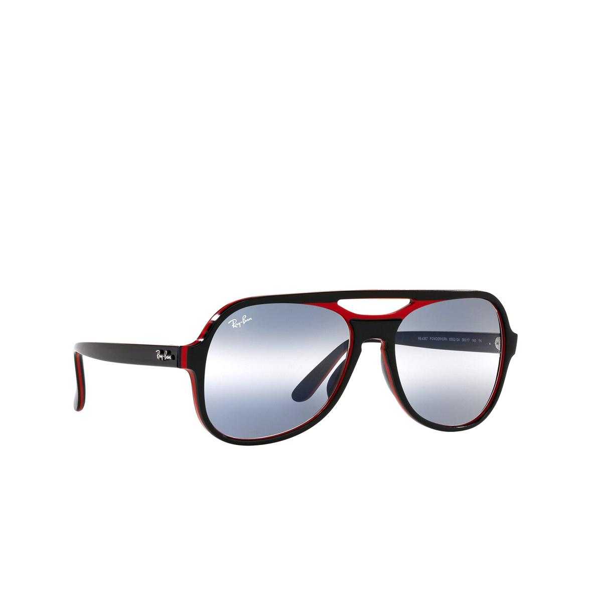 Ray-Ban® Aviator Sunglasses: Powderhorn RB4357 color Black Red Blue 6552GA - three-quarters view.