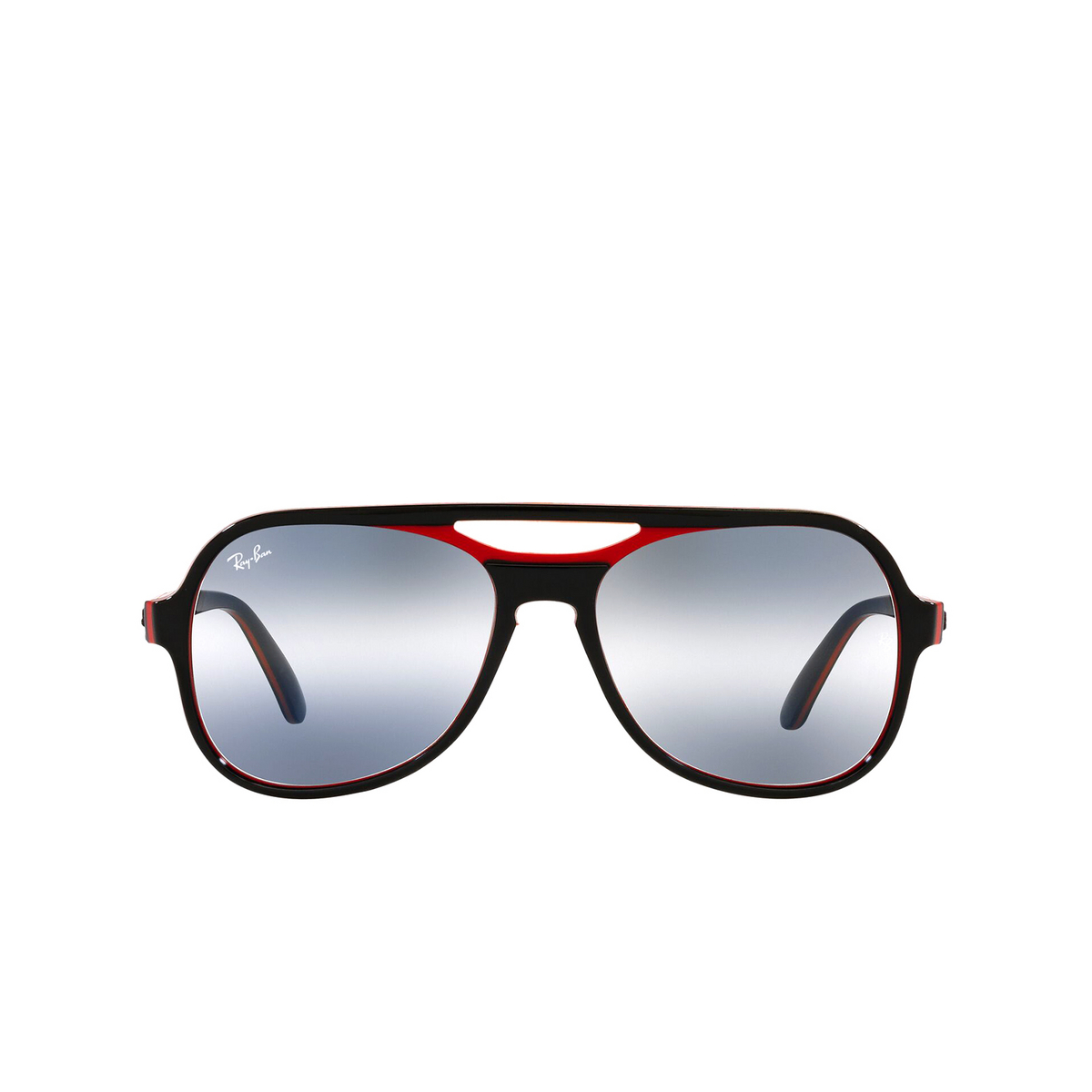 Ray-Ban® Aviator Sunglasses: Powderhorn RB4357 color Black Red Blue 6552GA - front view.
