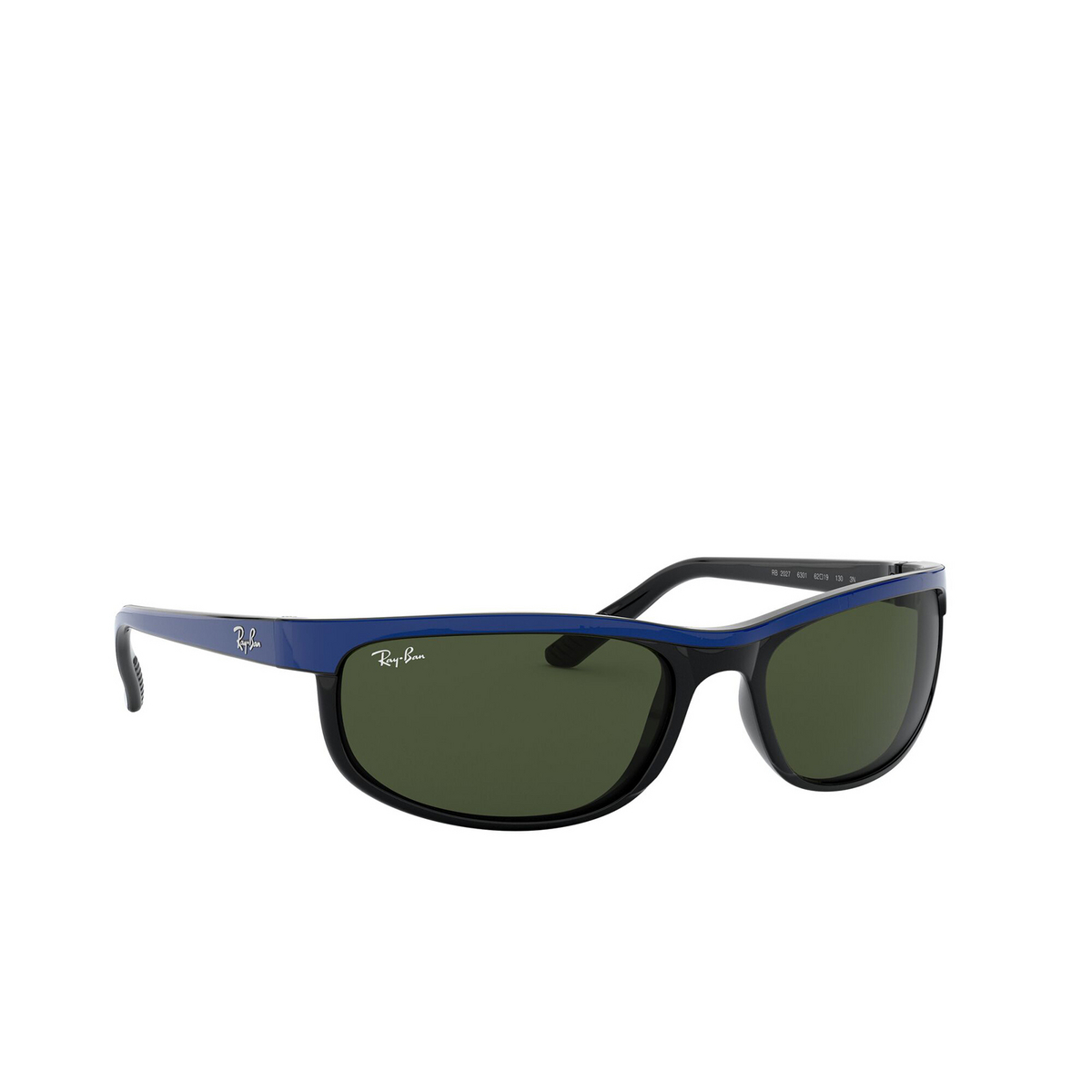 Ray-Ban® Rectangle Sunglasses: Predator 2 RB2027 color Top Blue On Black 6301 - three-quarters view.