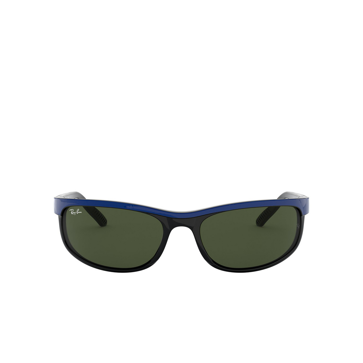 Ray-Ban® Rectangle Sunglasses: Predator 2 RB2027 color Top Blue On Black 6301 - front view.
