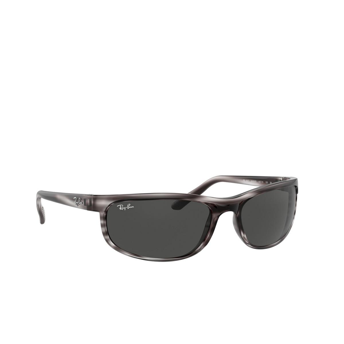 Ray-Ban® Rectangle Sunglasses: Predator 2 RB2027 color Striped Grey Havana 6430B1 - three-quarters view.