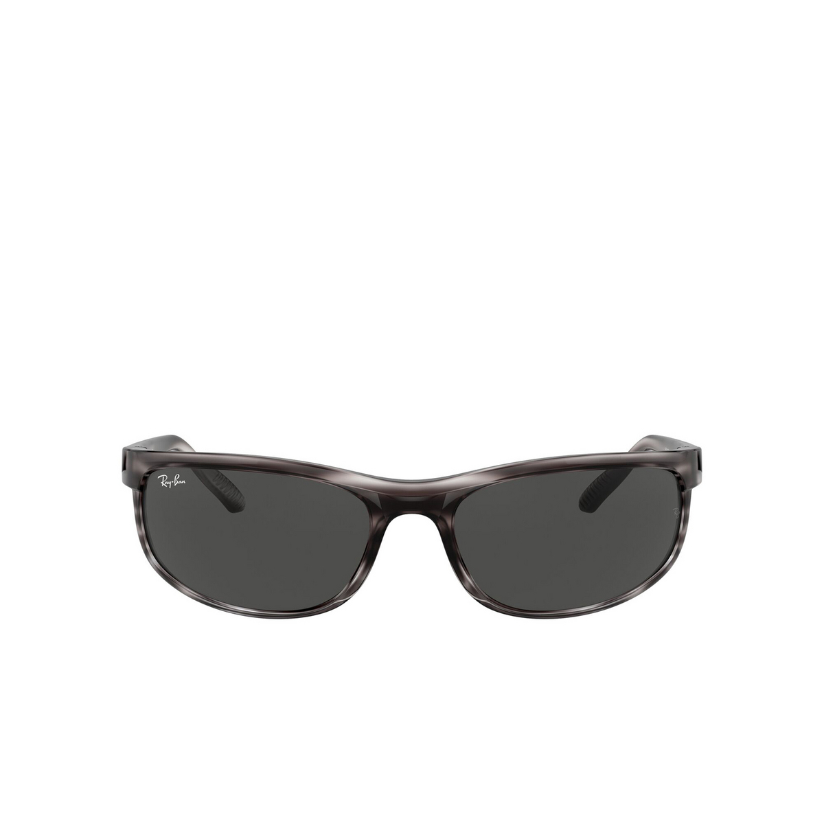 Ray-Ban® Rectangle Sunglasses: Predator 2 RB2027 color Striped Grey Havana 6430B1 - front view.