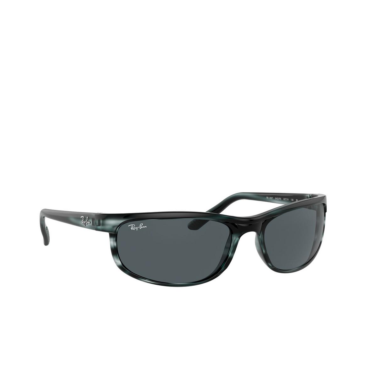 Ray-Ban® Rectangle Sunglasses: Predator 2 RB2027 color Striped Blue Havana 6432R5 - three-quarters view.