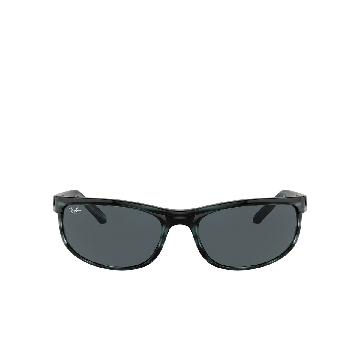 Ray-Ban® Rectangle Sunglasses: Predator 2 RB2027 color Striped Blue Havana 6432R5 - front view.