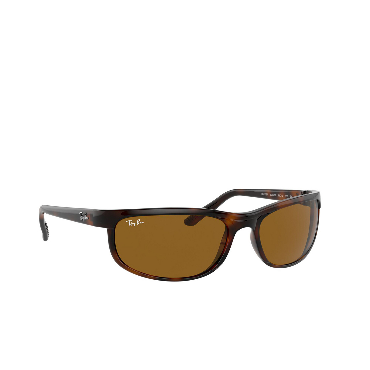 Ray-Ban® Rectangle Sunglasses: Predator 2 RB2027 color Dark Havana 650833 - three-quarters view.