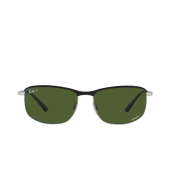 Ray-Ban® Rectangle Sunglasses: RB3671CH color Black On Silver 9144P1.