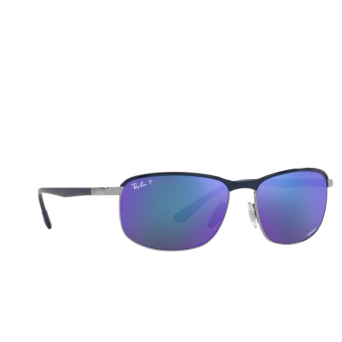 Ray-Ban® Rectangle Sunglasses: RB3671CH color Blue On Gunmetal 92044L.