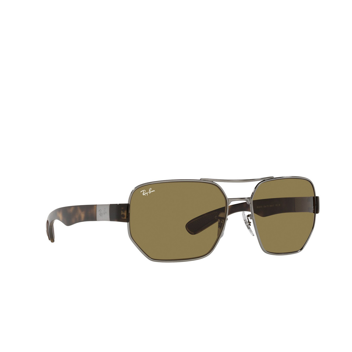 Ray-Ban® Irregular Sunglasses: RB3672 color Gunmetal 004/73 - three-quarters view.