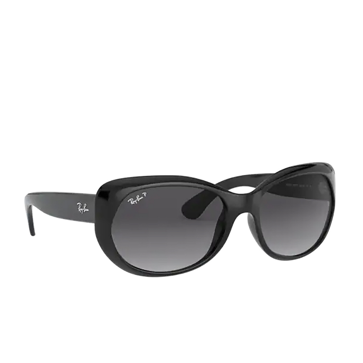 Ray-Ban® Oval Sunglasses: RB4325 color Black 601/T3 - three-quarters view.