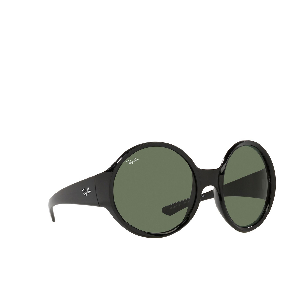 Ray-Ban® Round Sunglasses: RB4345 color Black 601/71 - three-quarters view.