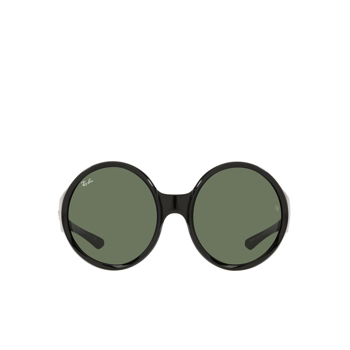 Ray-Ban® Round Sunglasses: RB4345 color Black 601/71 - front view.