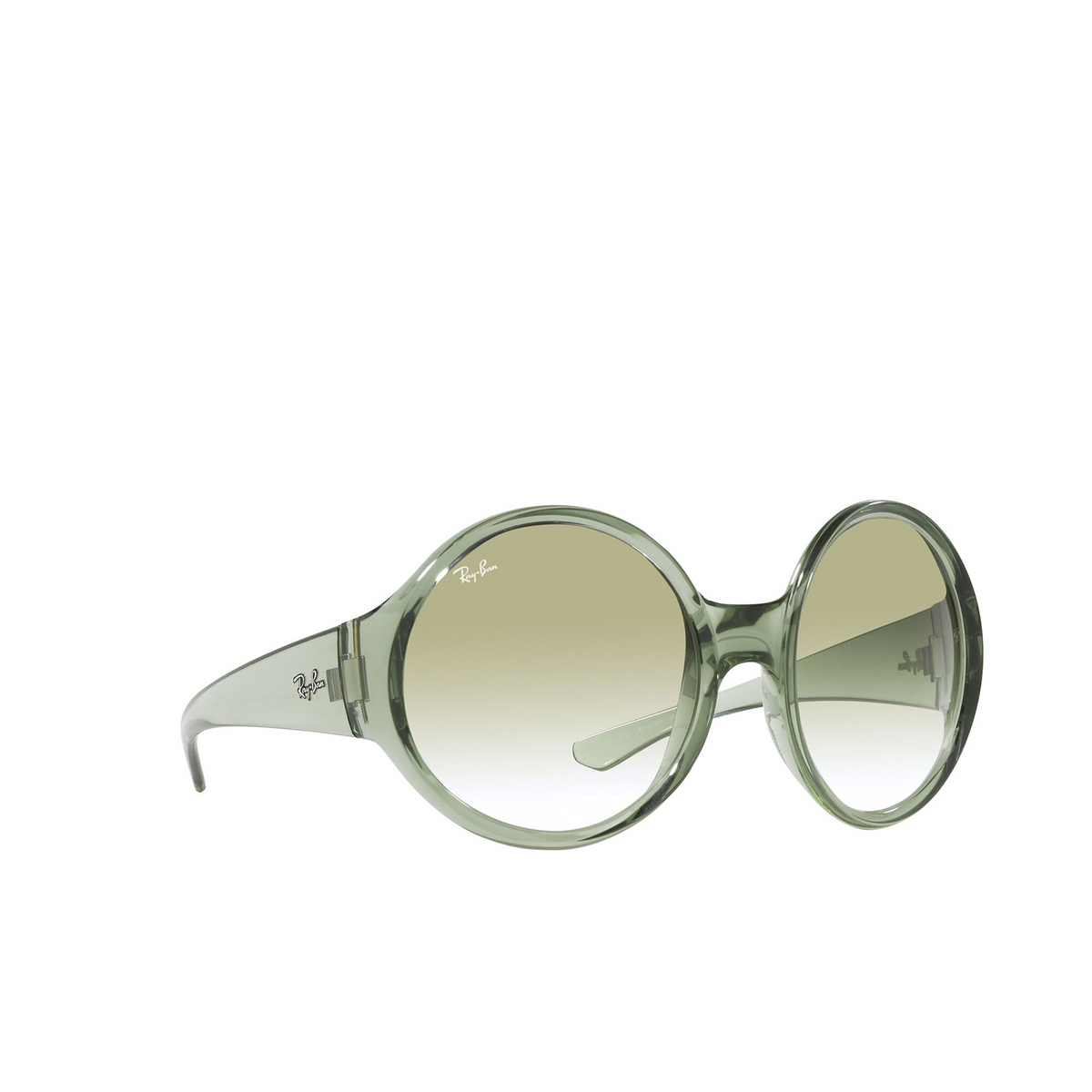 Ray-Ban® Round Sunglasses: RB4345 color Transparent Green 65320N - three-quarters view.