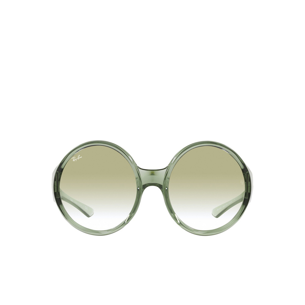 Ray-Ban® Round Sunglasses: RB4345 color Transparent Green 65320N - front view.
