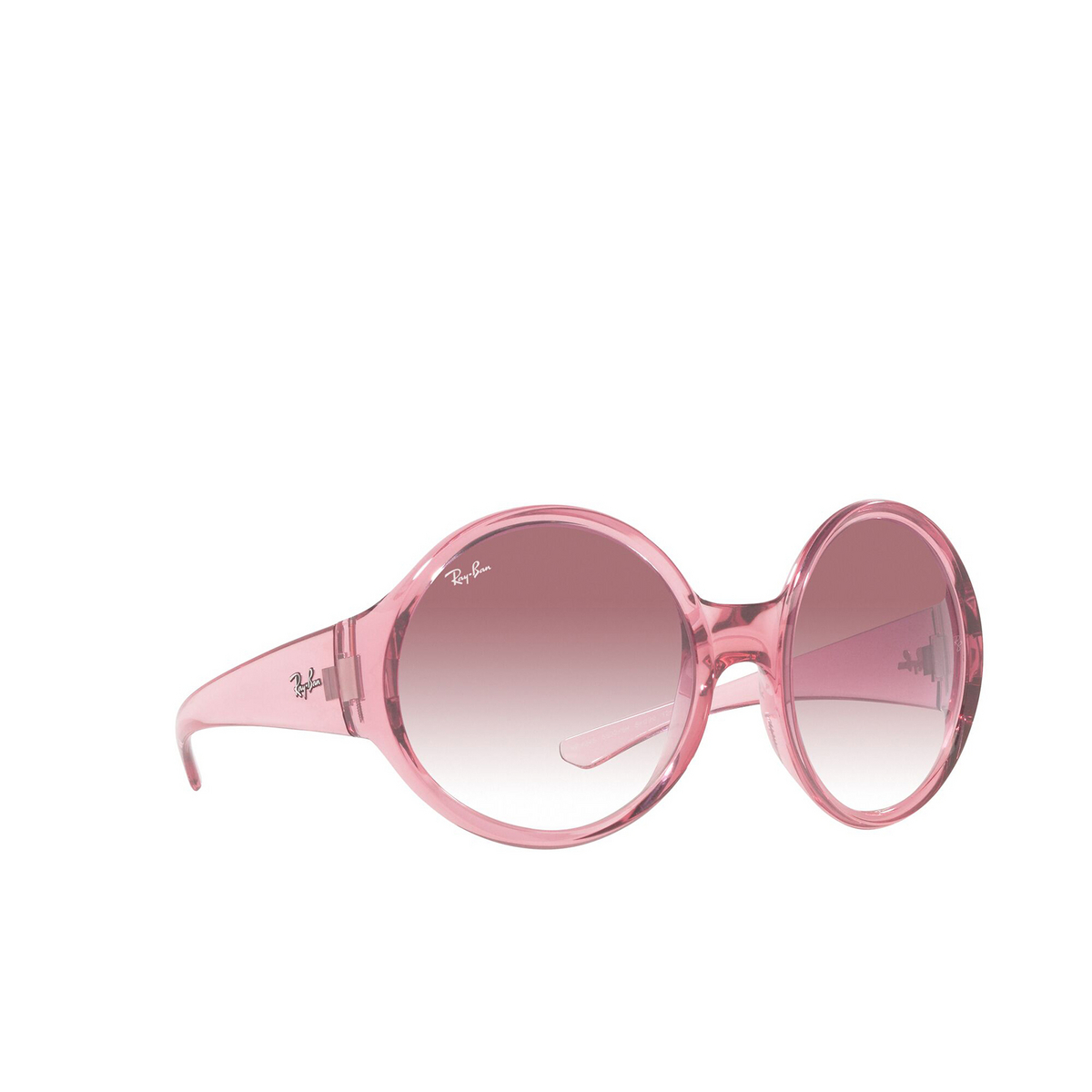 Ray-Ban® Round Sunglasses: RB4345 color Transparent Pink 65338H - three-quarters view.