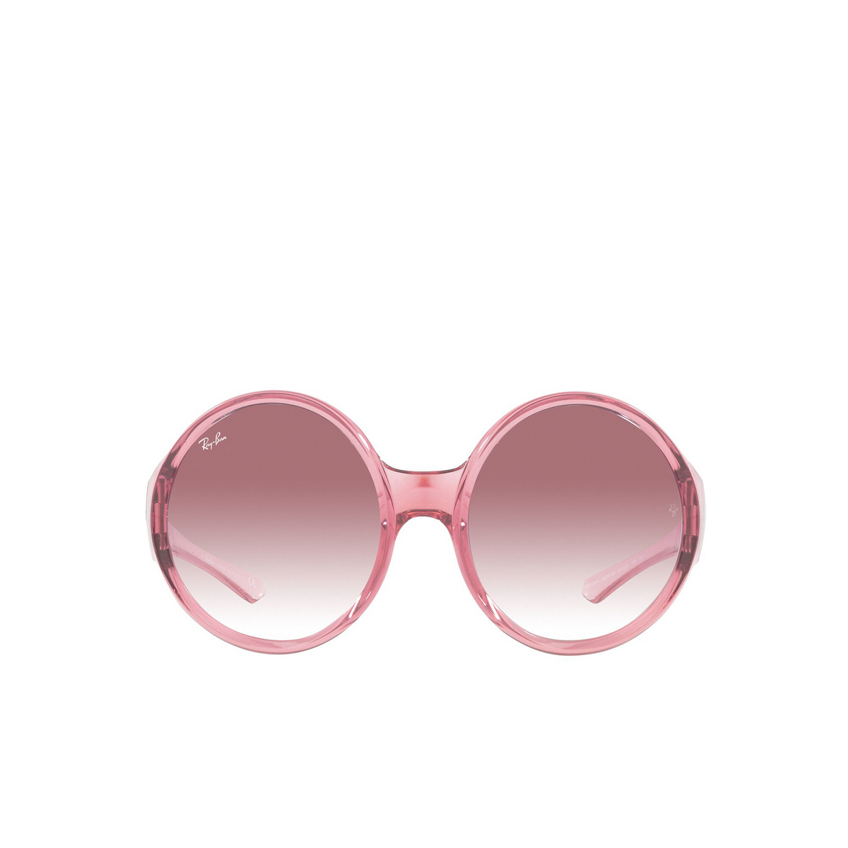 Ray-Ban® Round Sunglasses: RB4345 color Transparent Pink 65338H - front view.