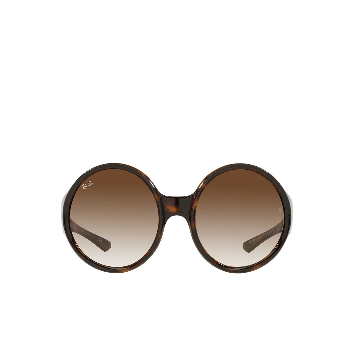Ray-Ban® Round Sunglasses: RB4345 color Havana 710/13 - front view.