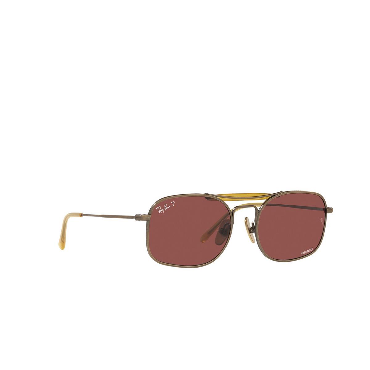 Ray-Ban® Square Sunglasses: RB8062 color Demi Gloss Antique Gold 9207AL - three-quarters view.