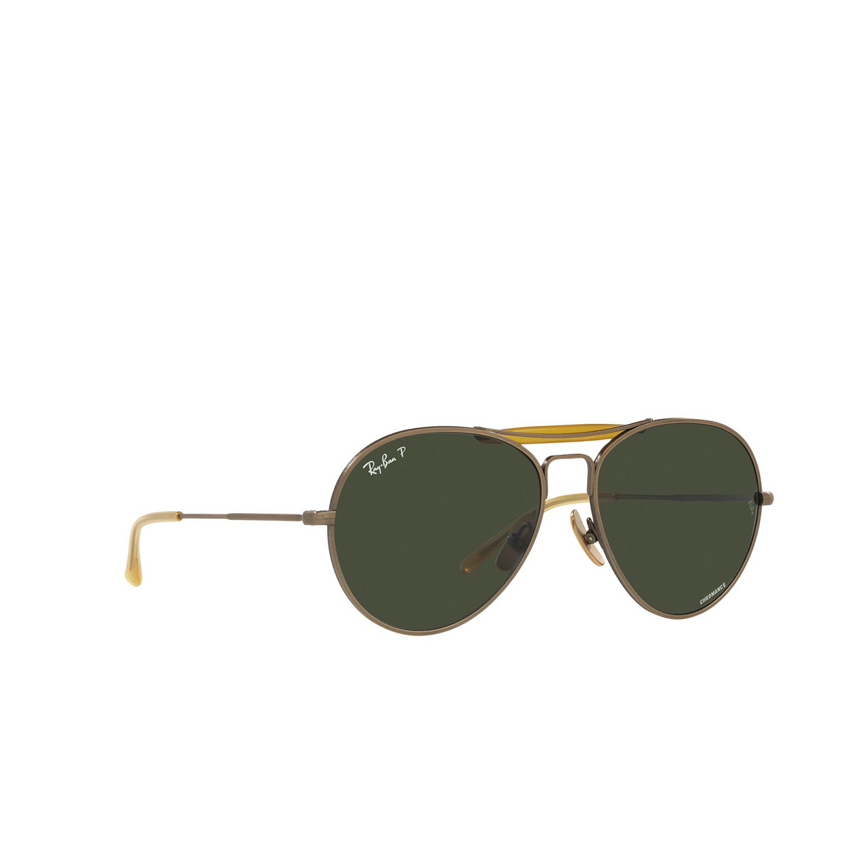 Ray-Ban® Aviator Sunglasses: RB8063 color Demi Gloss Antique Gold 9207P1 - three-quarters view.