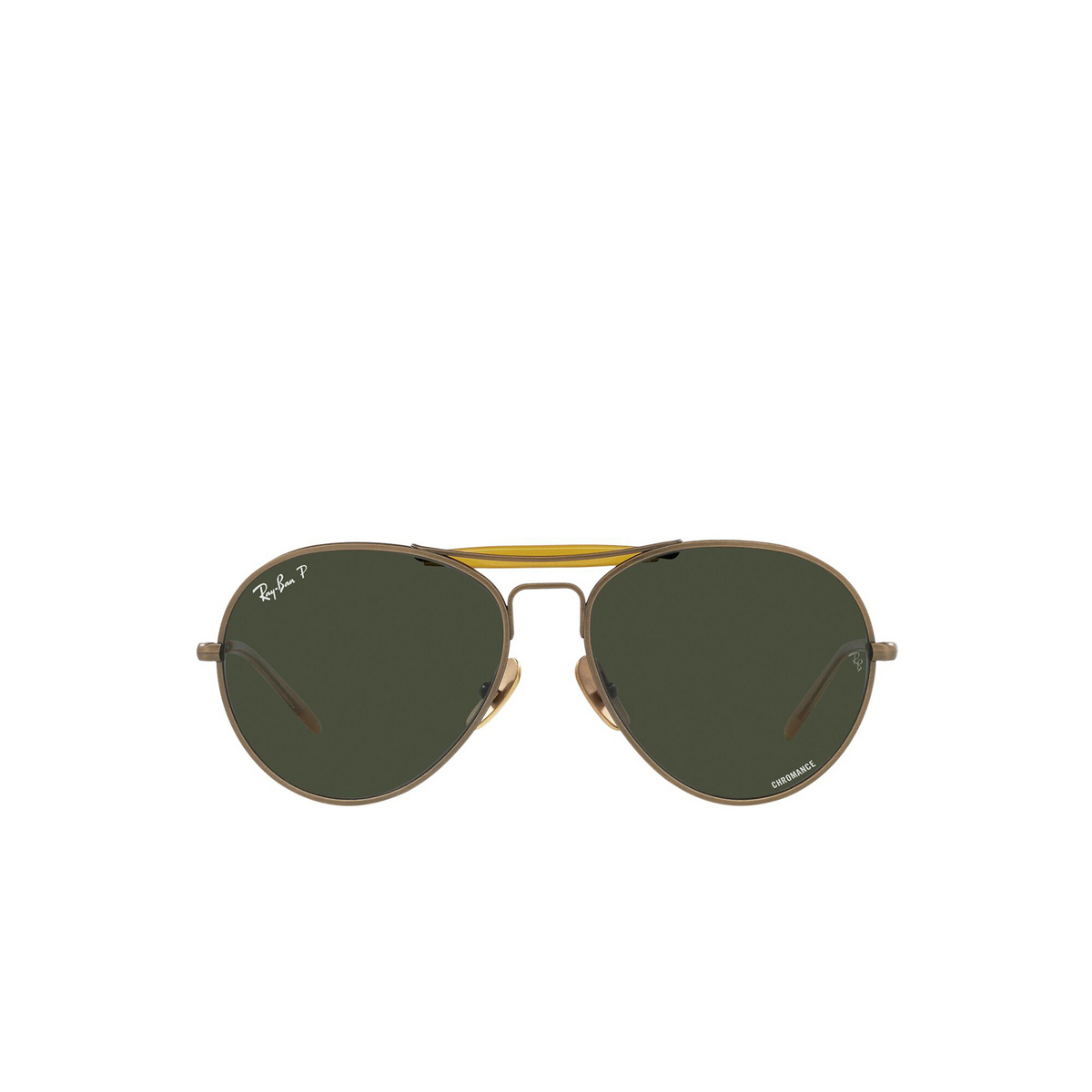 Ray-Ban® Aviator Sunglasses: RB8063 color Demi Gloss Antique Gold 9207P1 - front view.