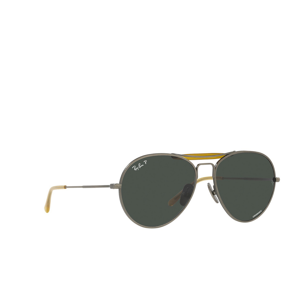 Ray-Ban® Aviator Sunglasses: RB8063 color Demi Gloss Pewter 9208K8 - three-quarters view.