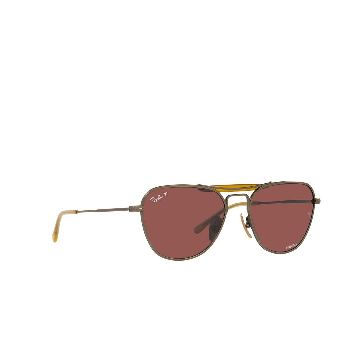 Ray-Ban® Irregular Sunglasses: RB8064 color Demi Gloss Antique Gold 9207AL - three-quarters view.