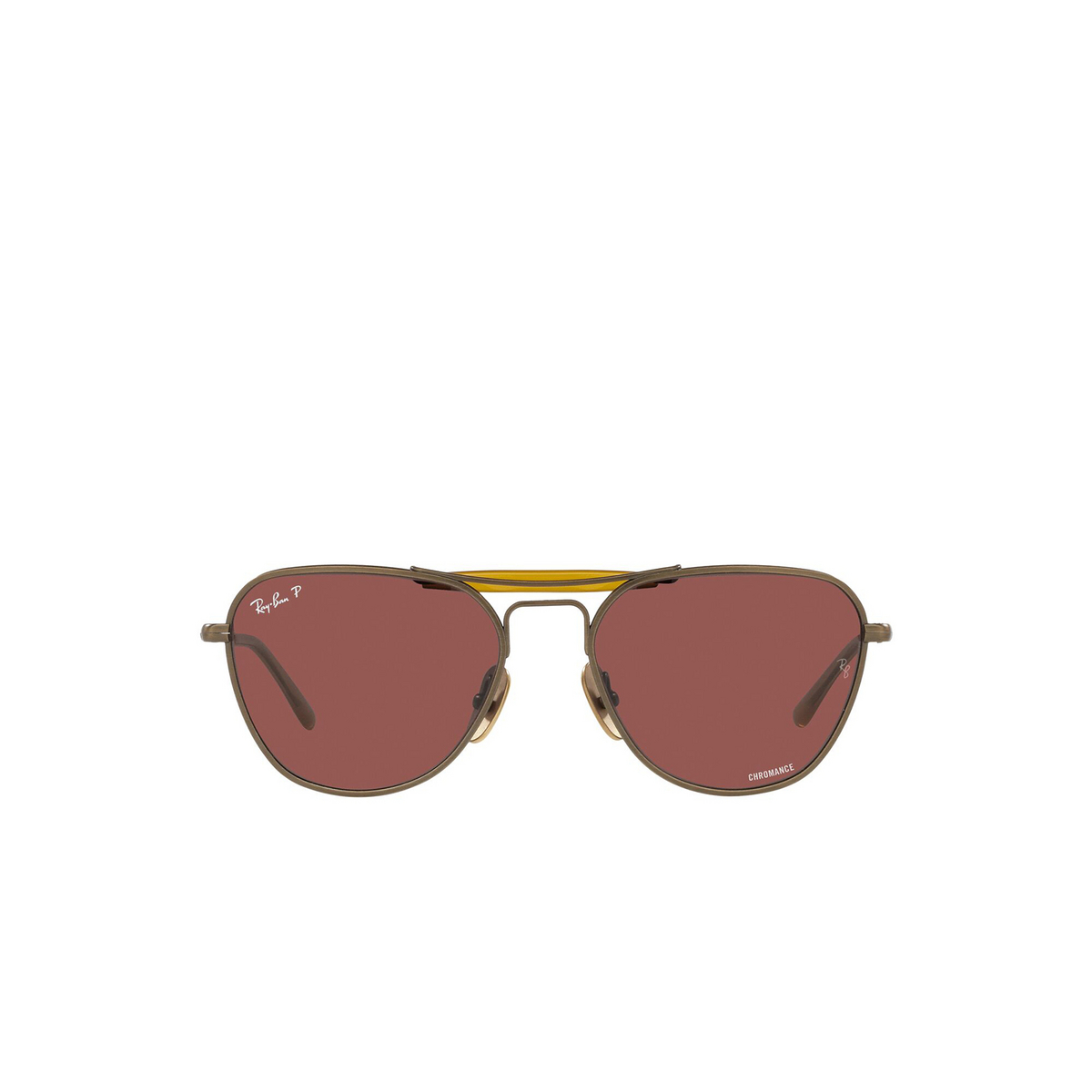 Ray-Ban® Irregular Sunglasses: RB8064 color Demi Gloss Antique Gold 9207AL - front view.