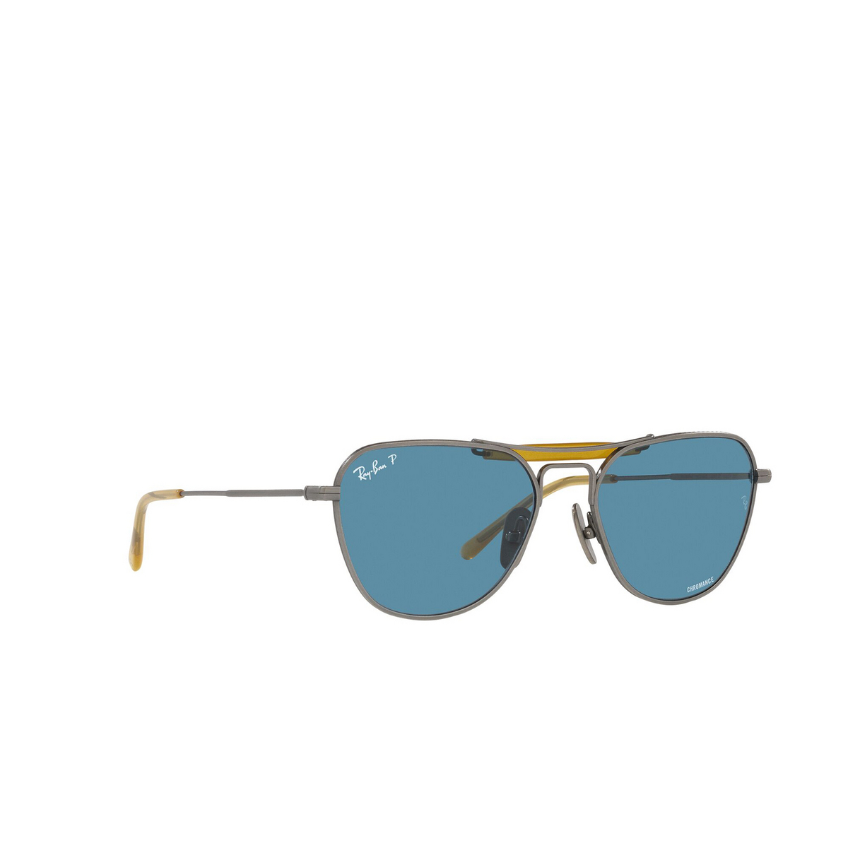 Ray-Ban® Irregular Sunglasses: RB8064 color Demi Gloss Pewter 9208S2 - three-quarters view.