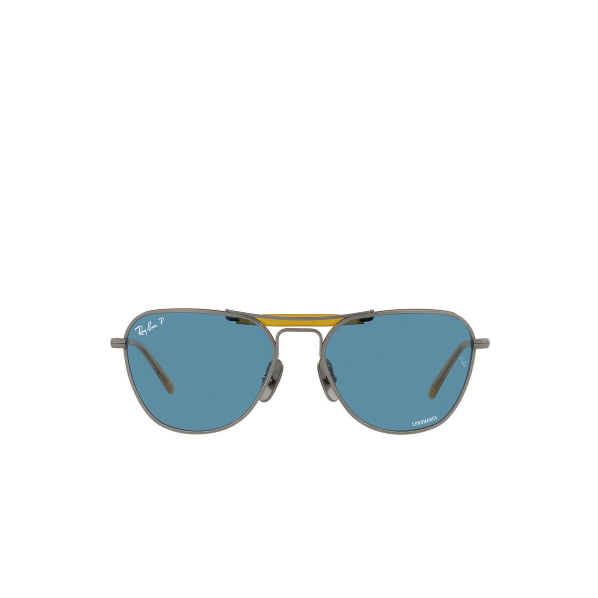 Ray-Ban® Irregular Sunglasses: RB8064 color Demi Gloss Pewter 9208S2 - front view.