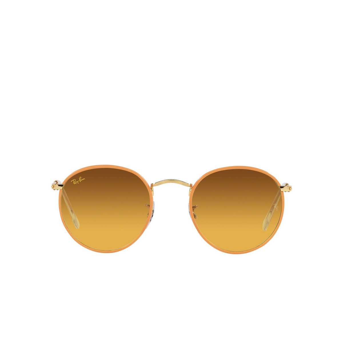 Ray-Ban® Round Sunglasses: Round Full Color RB3447JM color Orange On A Legend Gold 91963C.