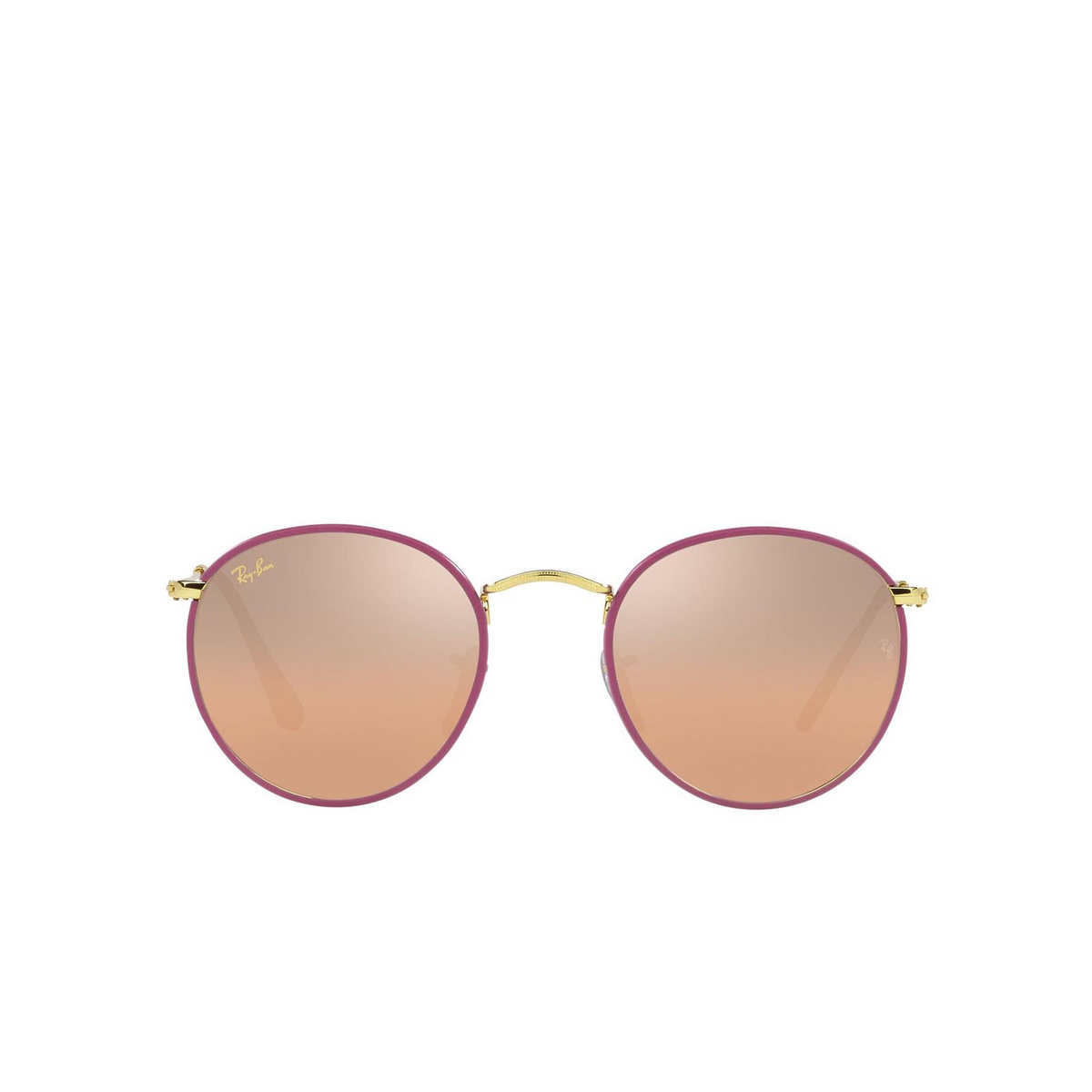 Ray-Ban® Round Sunglasses: Round Full Color RB3447JM color Violet On Legend Gold 91963E.