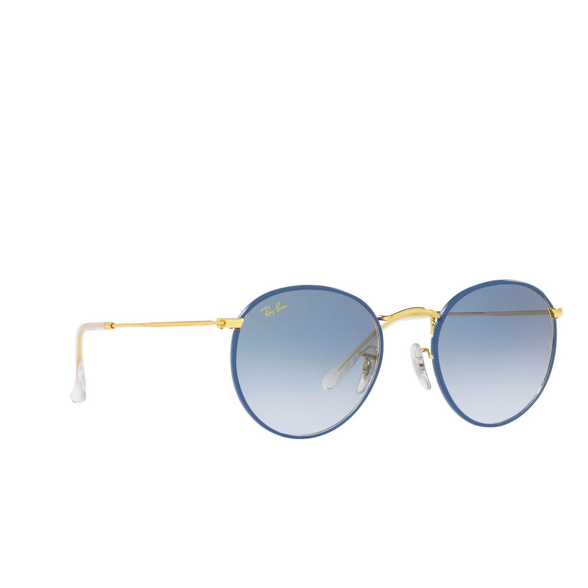 Ray-Ban® Round Sunglasses: Round Full Color RB3447JM color Light Blue On Legend Gold 91963F.