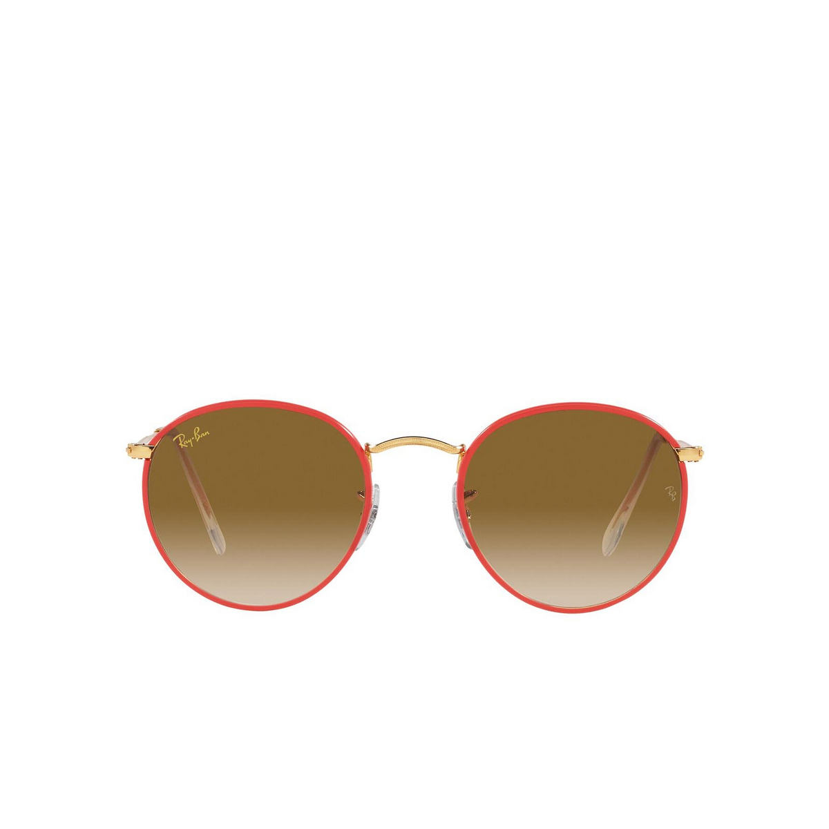Ray-Ban® Round Sunglasses: Round Full Color RB3447JM color Red On Legend Gold 919651.